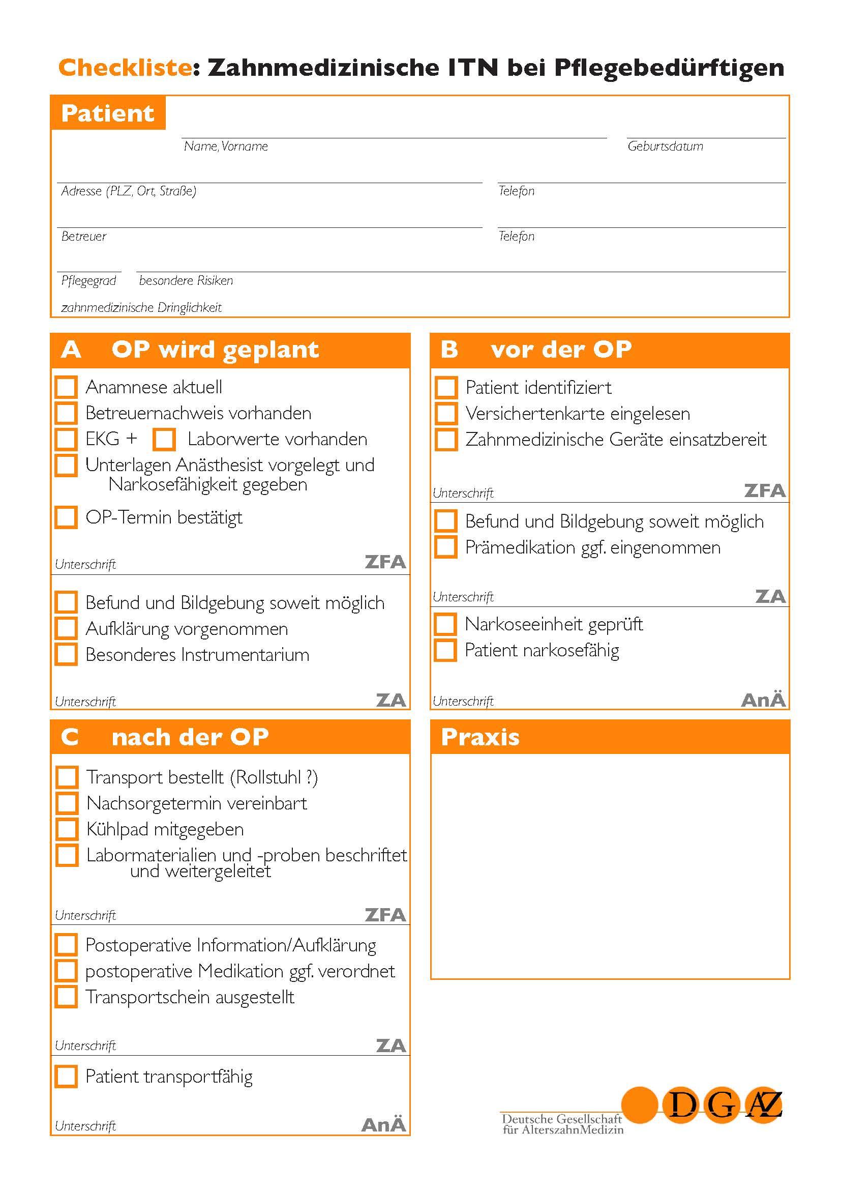 Die DGAZ   OP Checkliste